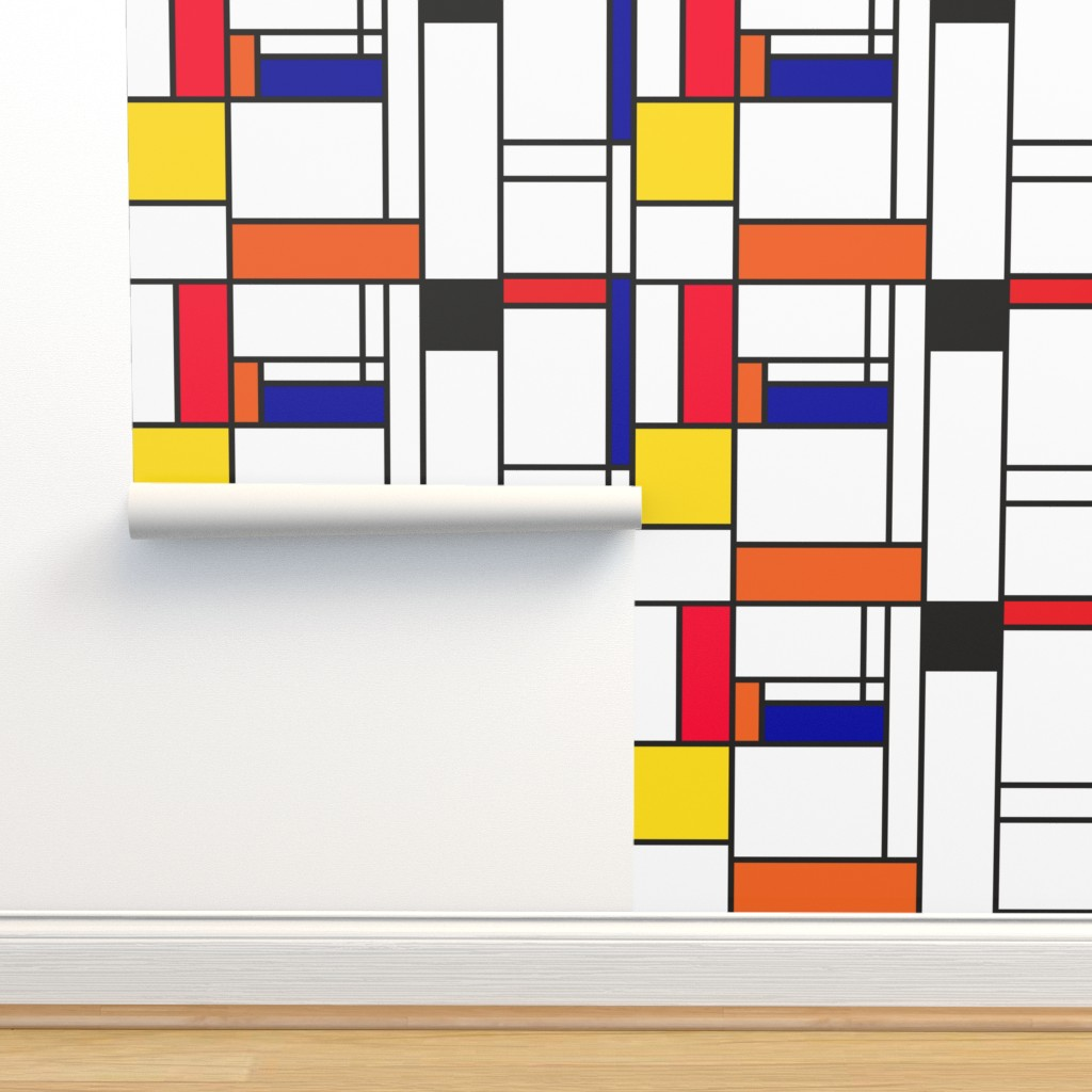 Isobar Durable Wallpaper featuring Piet Mondrian inspired line pattern by veerapfaffli