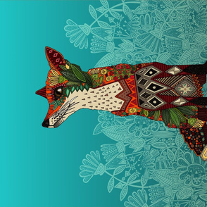 ice floral fox tea towel