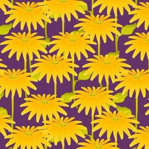 YELLOW FLOWER on purple
