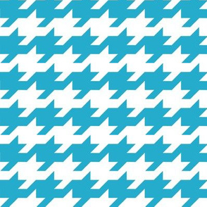 Houndstooth - Turquoise and white