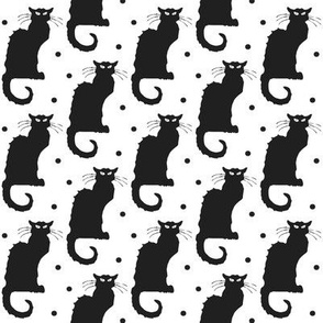 Le Chat Noir Black Cat on White with Black Dots