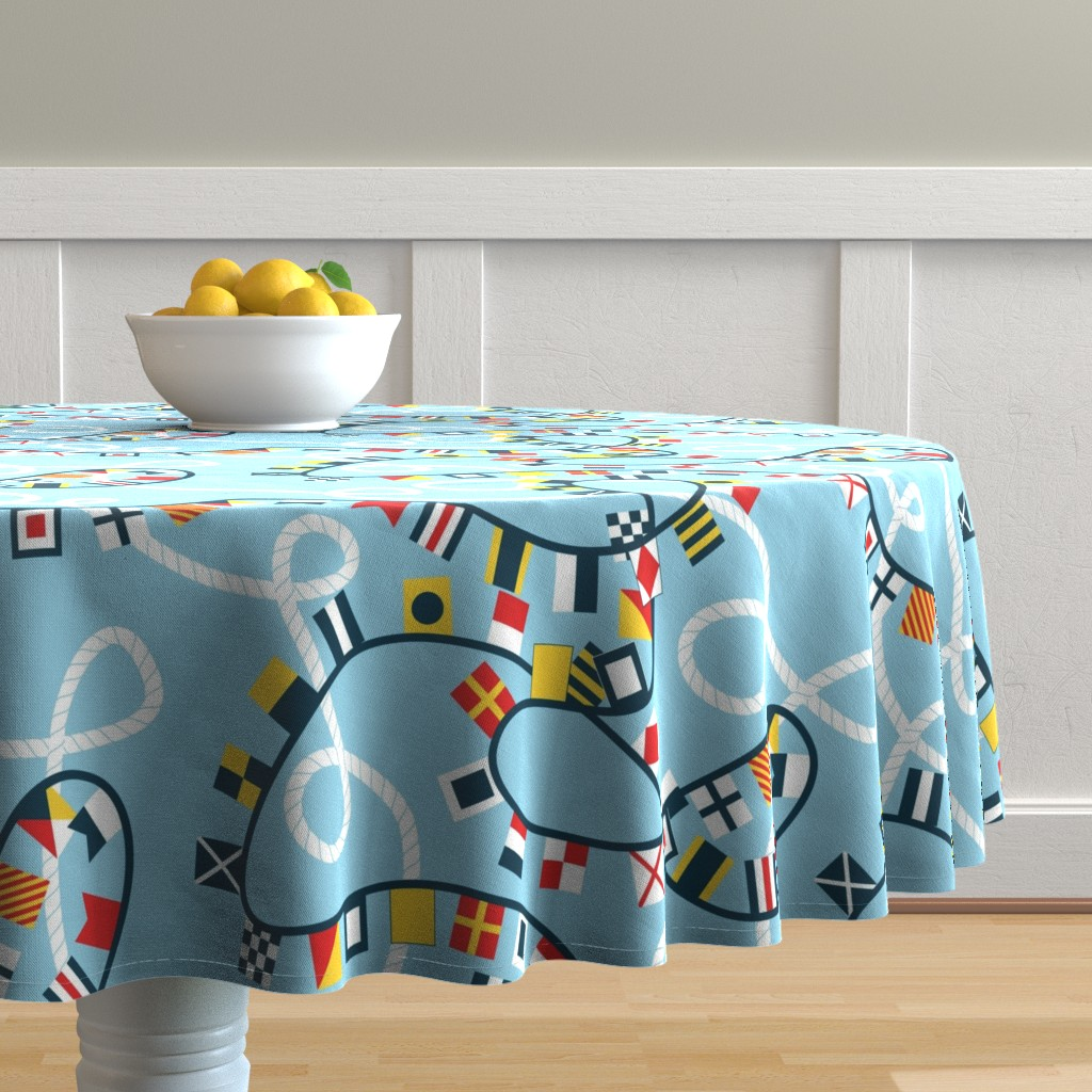 Malay Round Tablecloth featuring Ropes and Flags Alphabet by candyjoyce