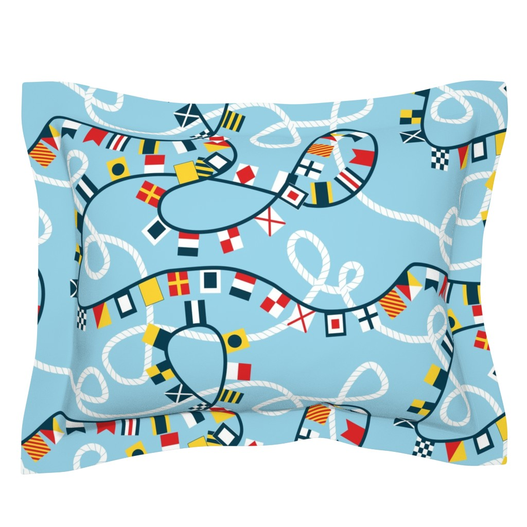 Sebright Pillow Sham featuring Ropes and Flags Alphabet by candyjoyce