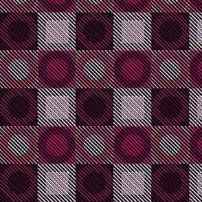 Twill Plaid Circles Pink and Purples