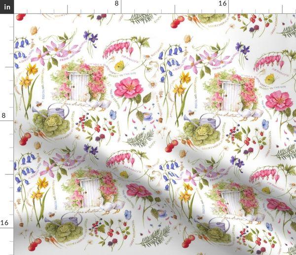 Stoff Meterware Blumen Viktorianisch Garten Jane Austen Literatur England Jane Roman