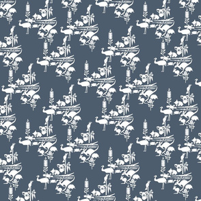 Animal Corroboree -White (FFFFFF) on Indigo Batik (4D5C6D)