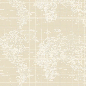 Vintage Beige and White Map
