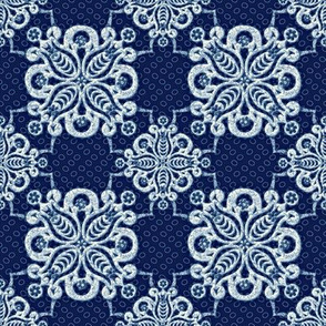 damask navy white 1500