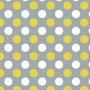 polka dots gray and yellow