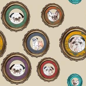 dog fabric of pugs, french and english bulldos