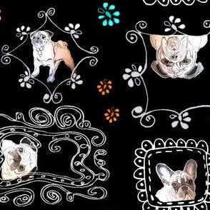 pugs and bulldogs on black fabric