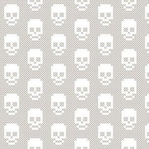 Cross stitch skull grey