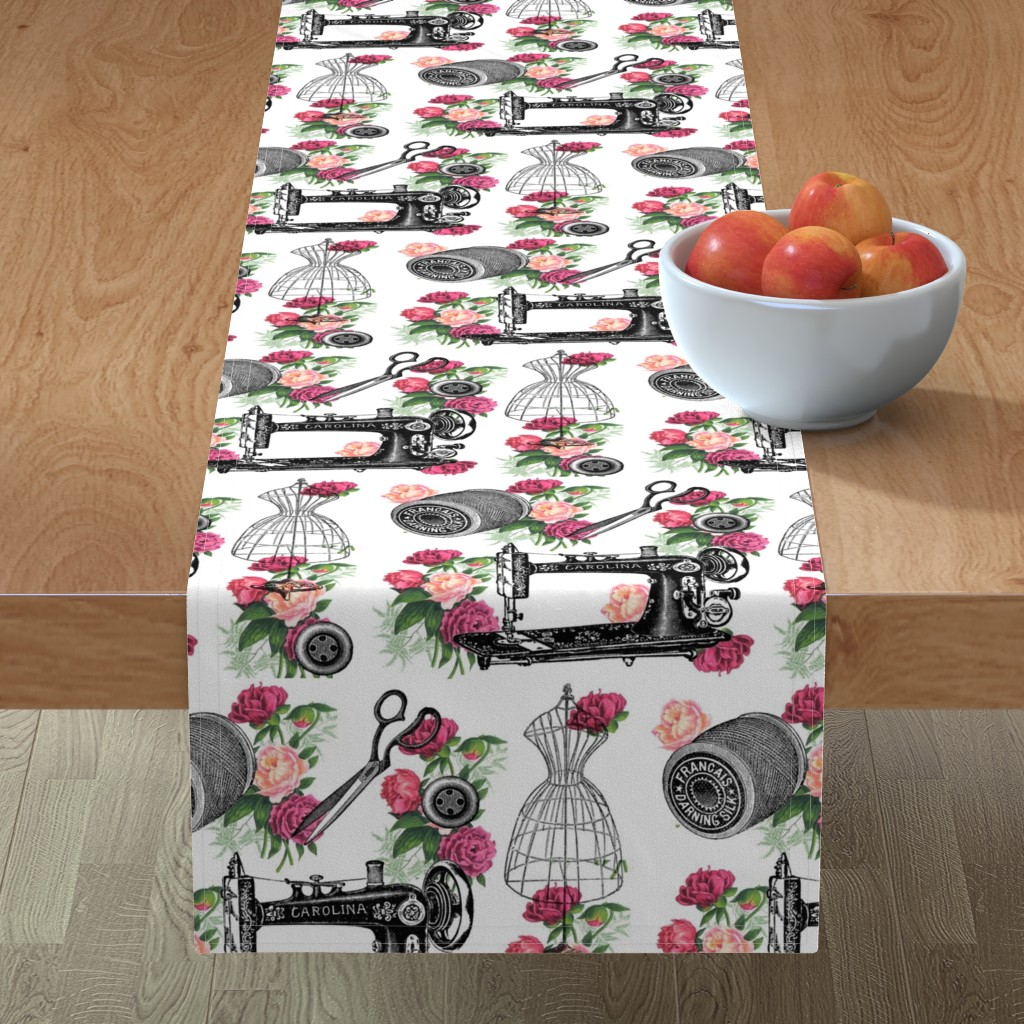 Minorca Table Runner featuring Vintage Sewing and Roses by 13moons_design