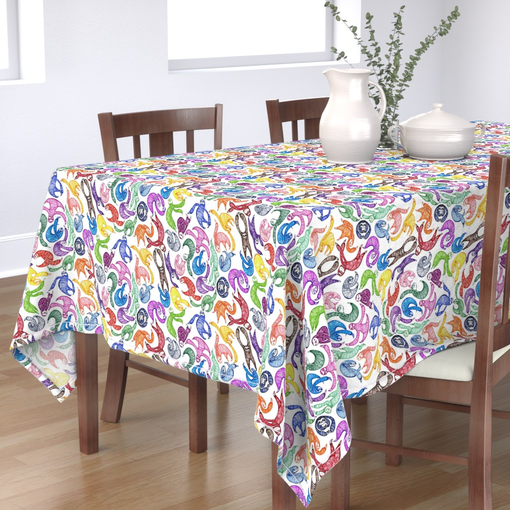 Bantam Rectangular Tablecloth featuring Gobs O' Sloths ( large) by ceanirminger