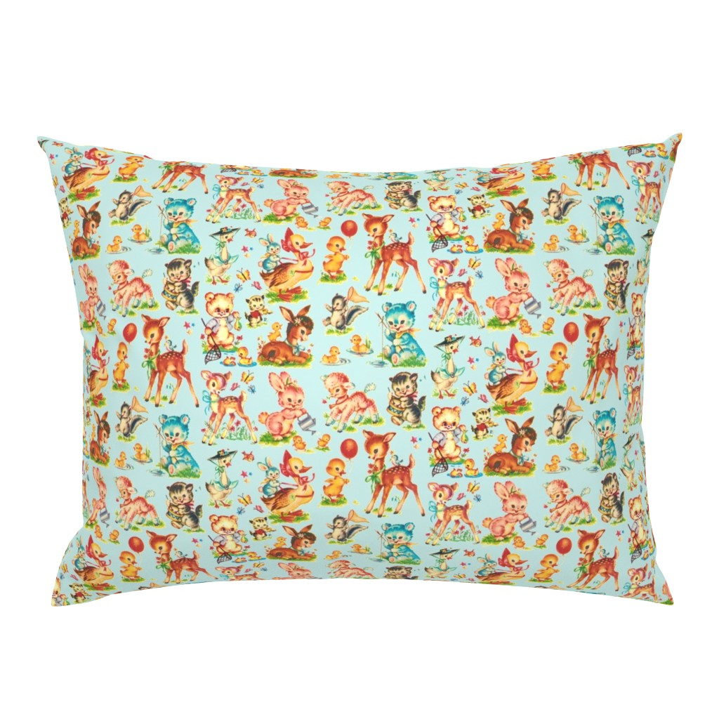 Campine Pillow Sham featuring Favorite vintage Baby Animals Aqua by parisbebe