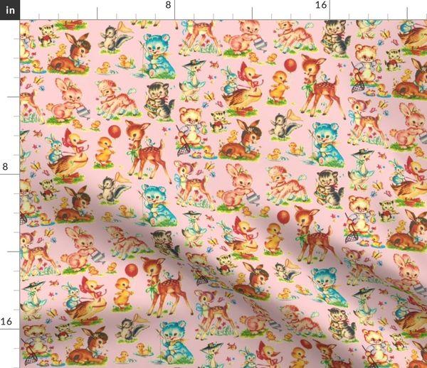 Fabric By The Yard Favorite Pink Vintage Baby Animals Paris Bebe