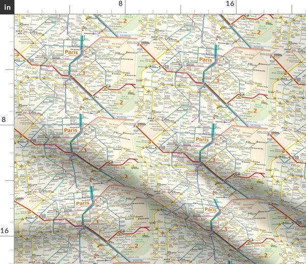 Landkarte Paris U Bahn Metro Karte Spoonflower