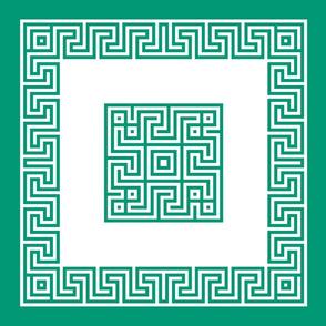 Greek key pillow - emerald