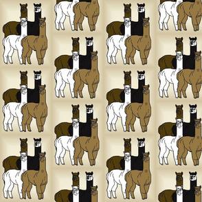 Four Alpacas Group Animals Fabric