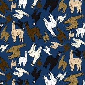 Alpacas Group With Navy Blue Background Fabric