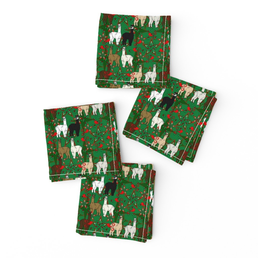 Frizzle Cocktail Napkins featuring Alpacas Animal Christmas Fabric by lworiginals