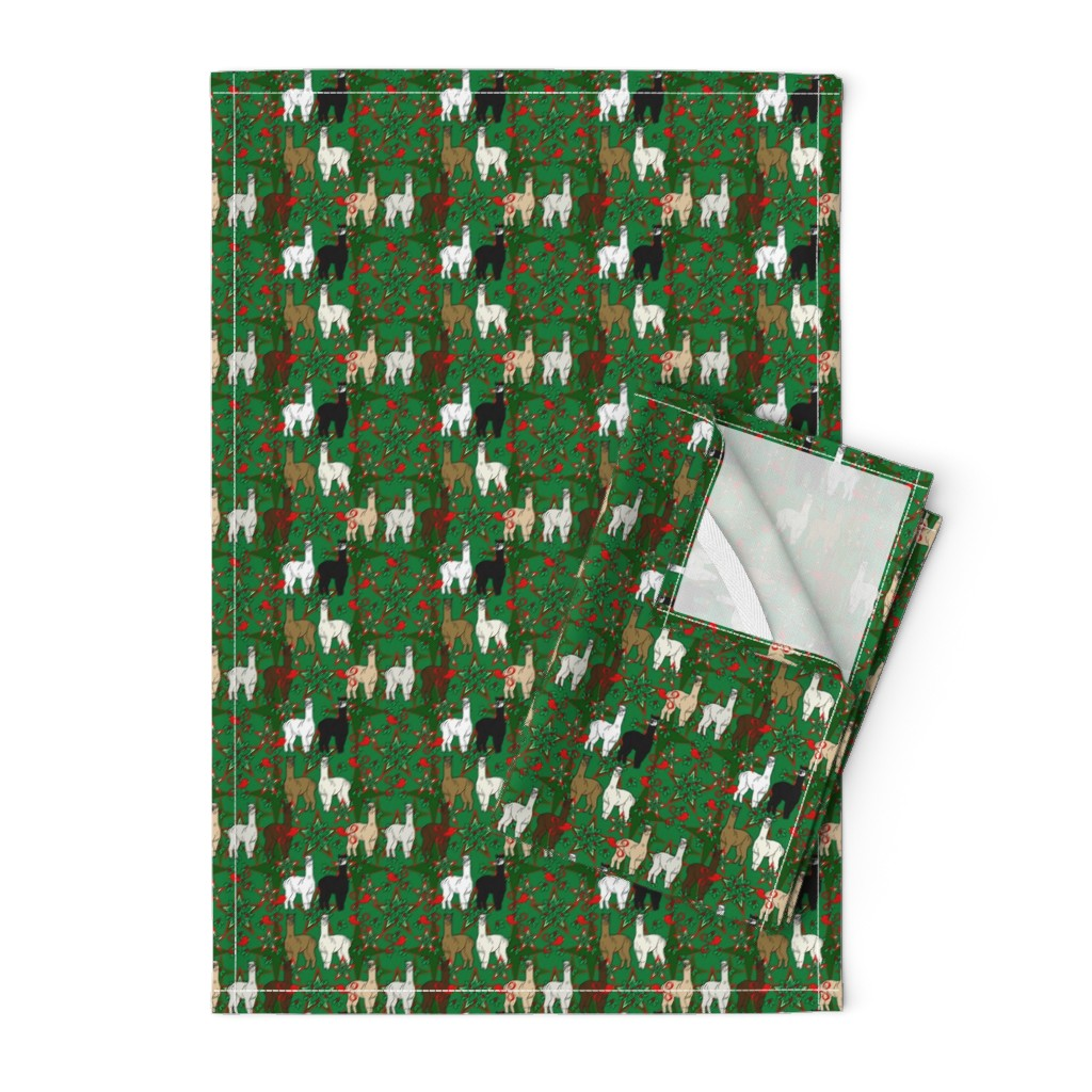 Orpington Tea Towels featuring Alpacas Animal Christmas Fabric by lworiginals