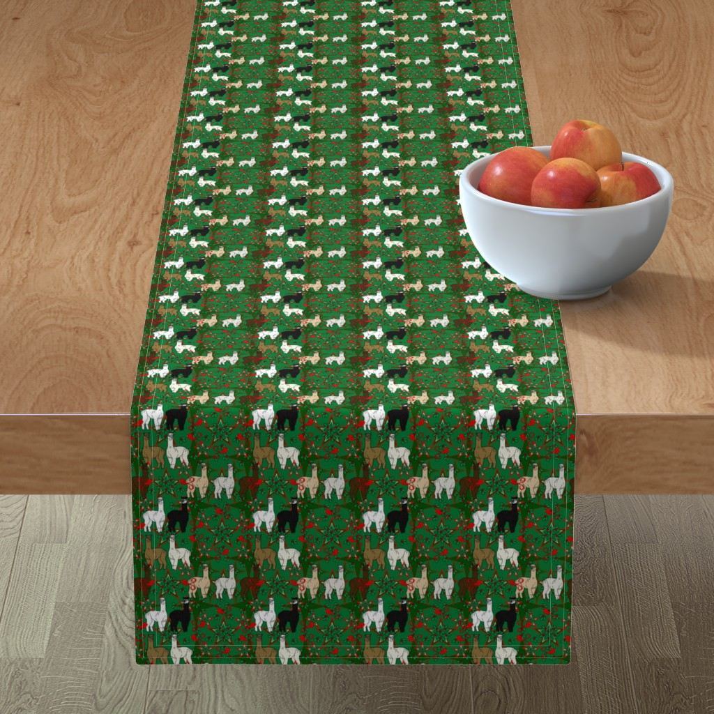 Minorca Table Runner featuring Alpacas Animal Christmas Fabric by lworiginals