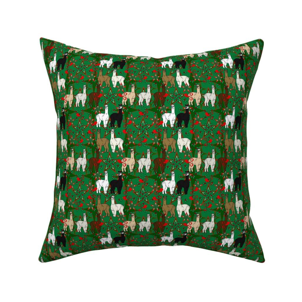 Catalan Throw Pillow featuring Alpacas Animal Christmas Fabric by lworiginals