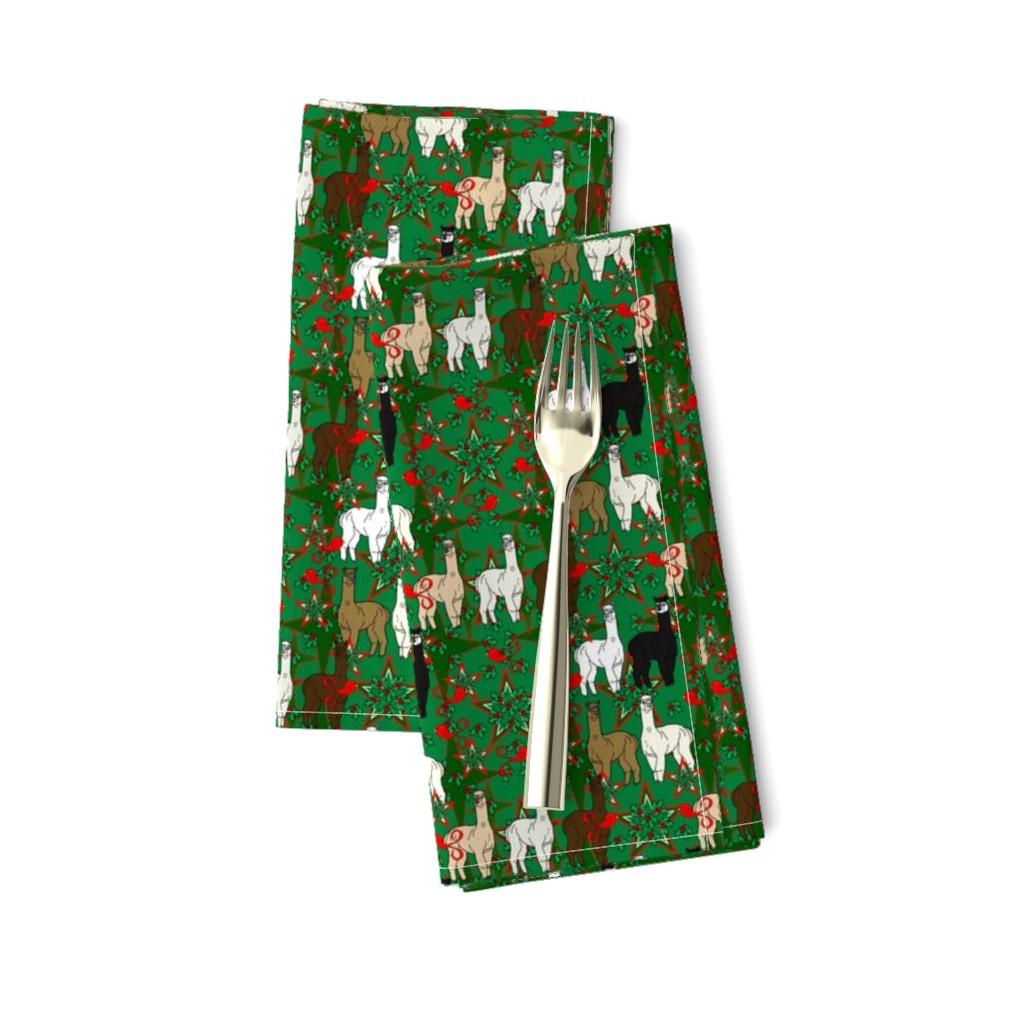Amarela Dinner Napkins featuring Alpacas Animal Christmas Fabric by lworiginals
