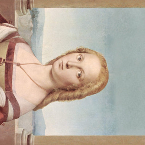 Portrait of Young Woman with Unicorn Border Print