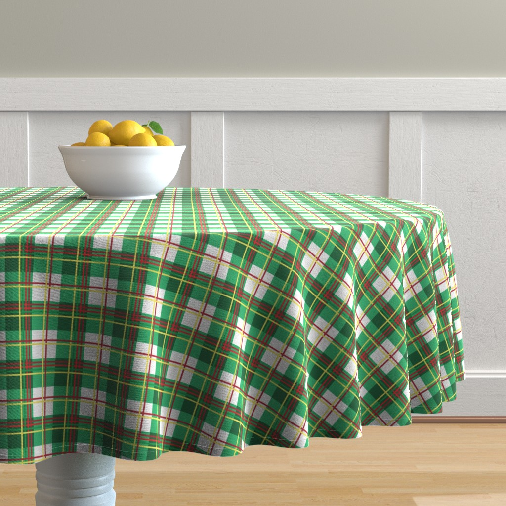 Malay Round Tablecloth featuring Bunny Plaid by knittingand