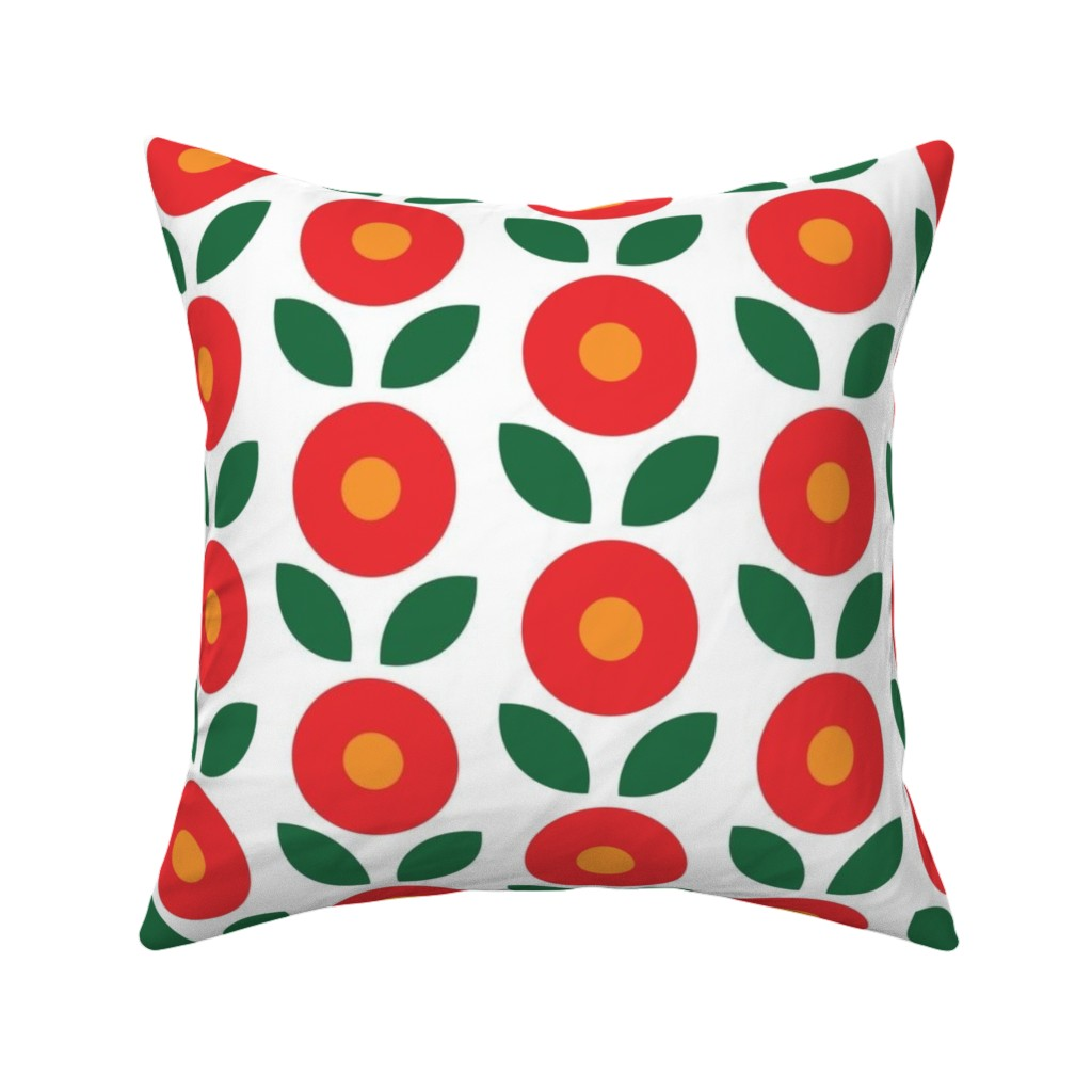 Catalan Throw Pillow featuring Bunny Big Flowers by knittingand