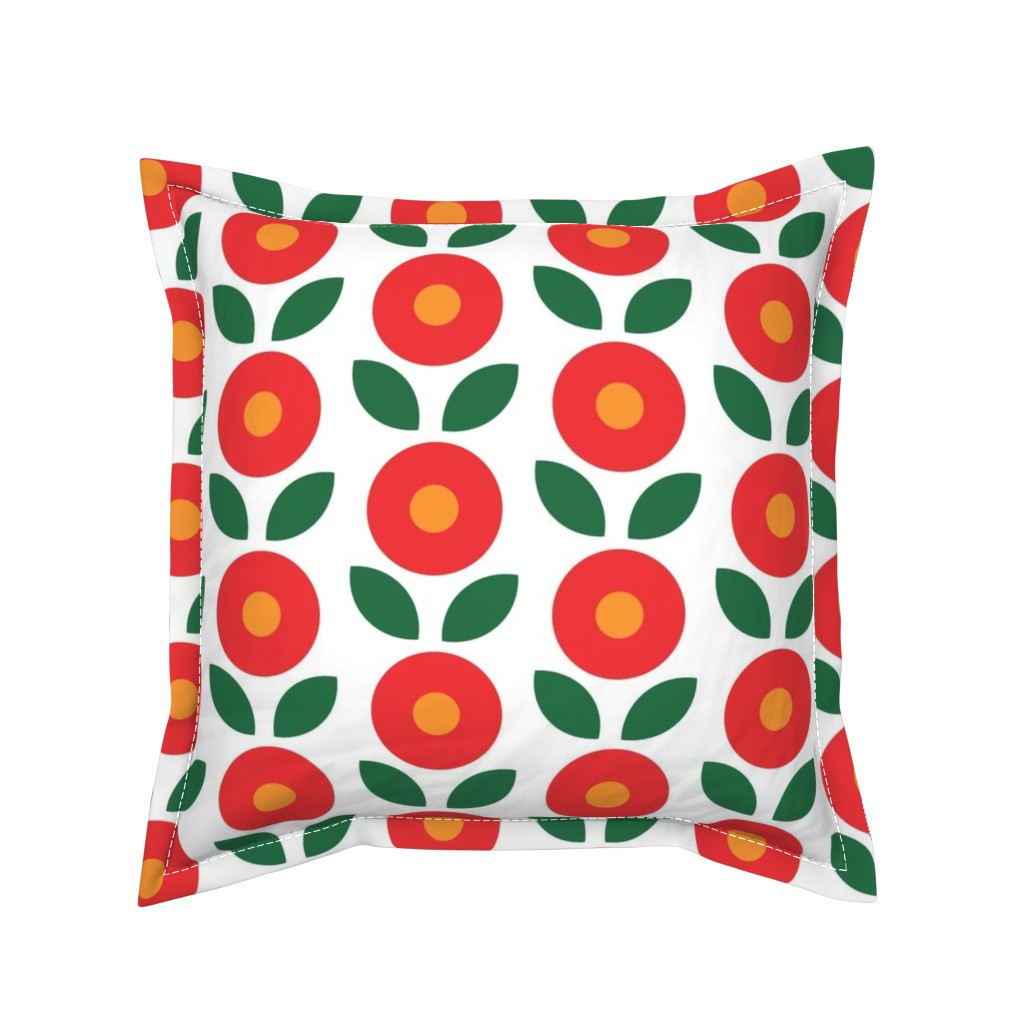Serama Throw Pillow featuring Bunny Big Flowers by knittingand