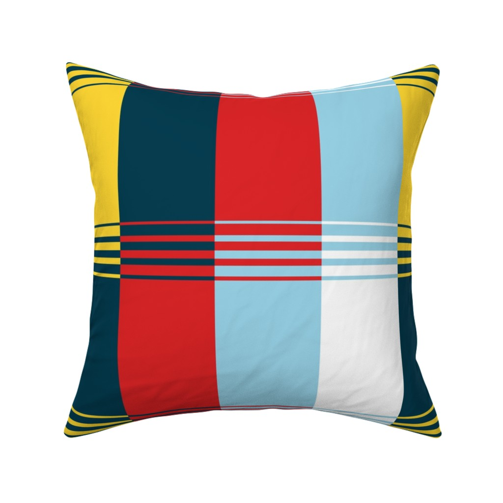 Catalan Throw Pillow featuring Bold Blocks Blanket Design by elramsay