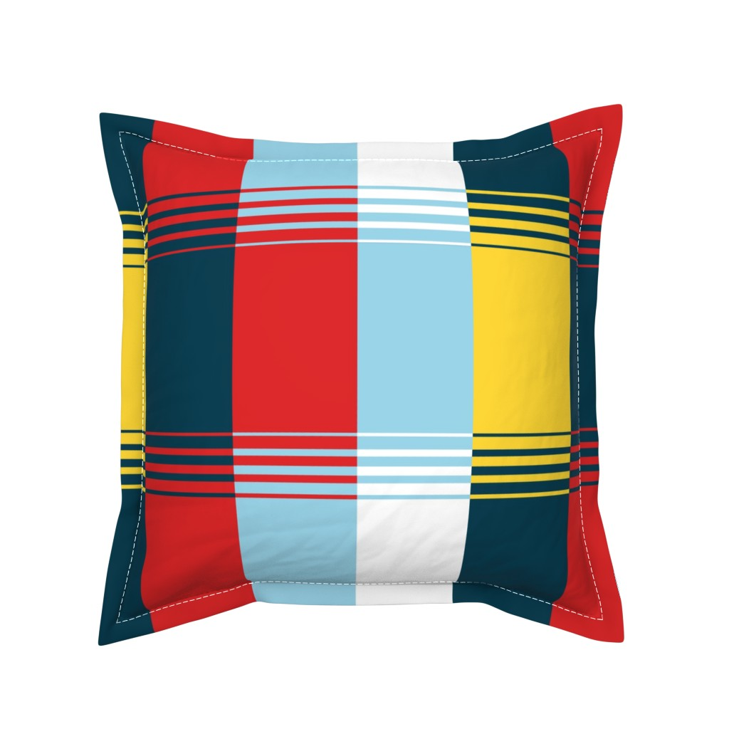 Serama Throw Pillow featuring Bold Blocks Blanket Design by elramsay