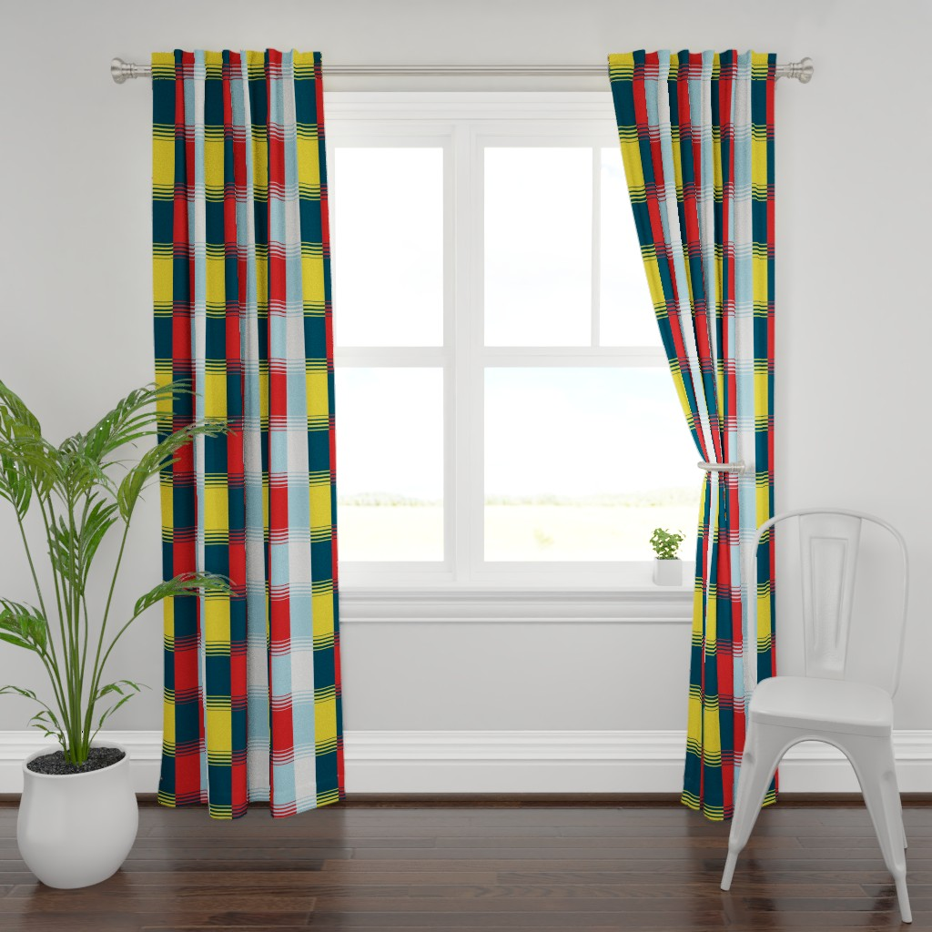 Plymouth Curtain Panel featuring Bold Blocks Blanket Design by elramsay
