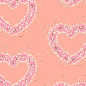 Floral_Hearts_Pink on Peach