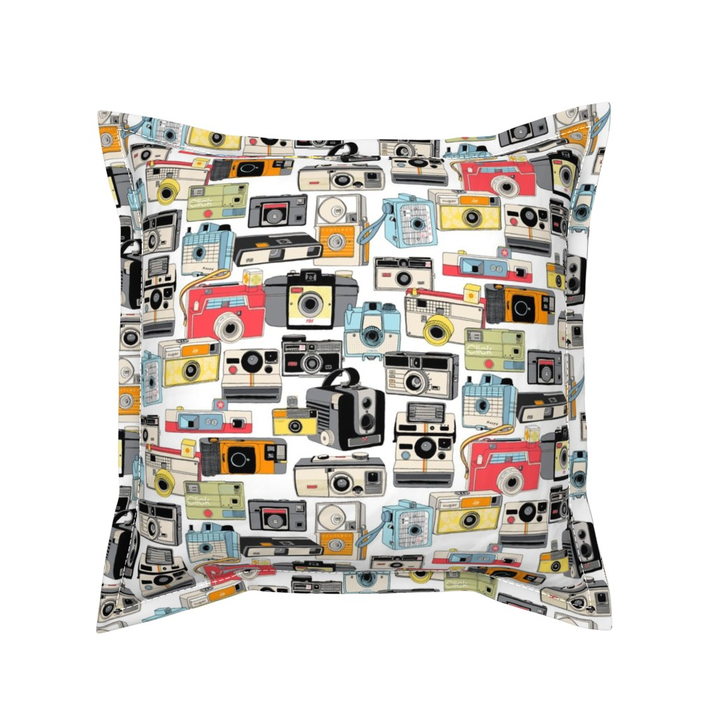 Serama Throw Pillow featuring Make it Snappy!    vintage camera illustrations analog photography film photo photographer by pennycandy