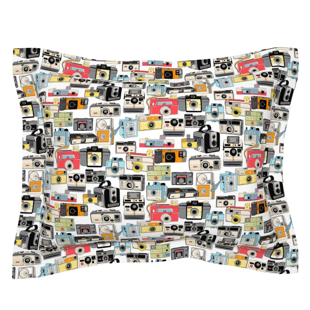 Sebright Pillow Sham featuring Make it Snappy! || vintage camera illustrations analog photography film photo photographer by pennycandy
