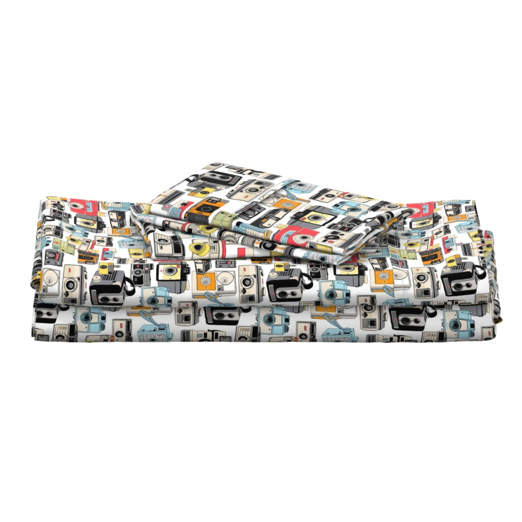 Langshan Full Bed Set featuring Make it Snappy!    vintage camera illustrations analog photography film photo photographer by pennycandy