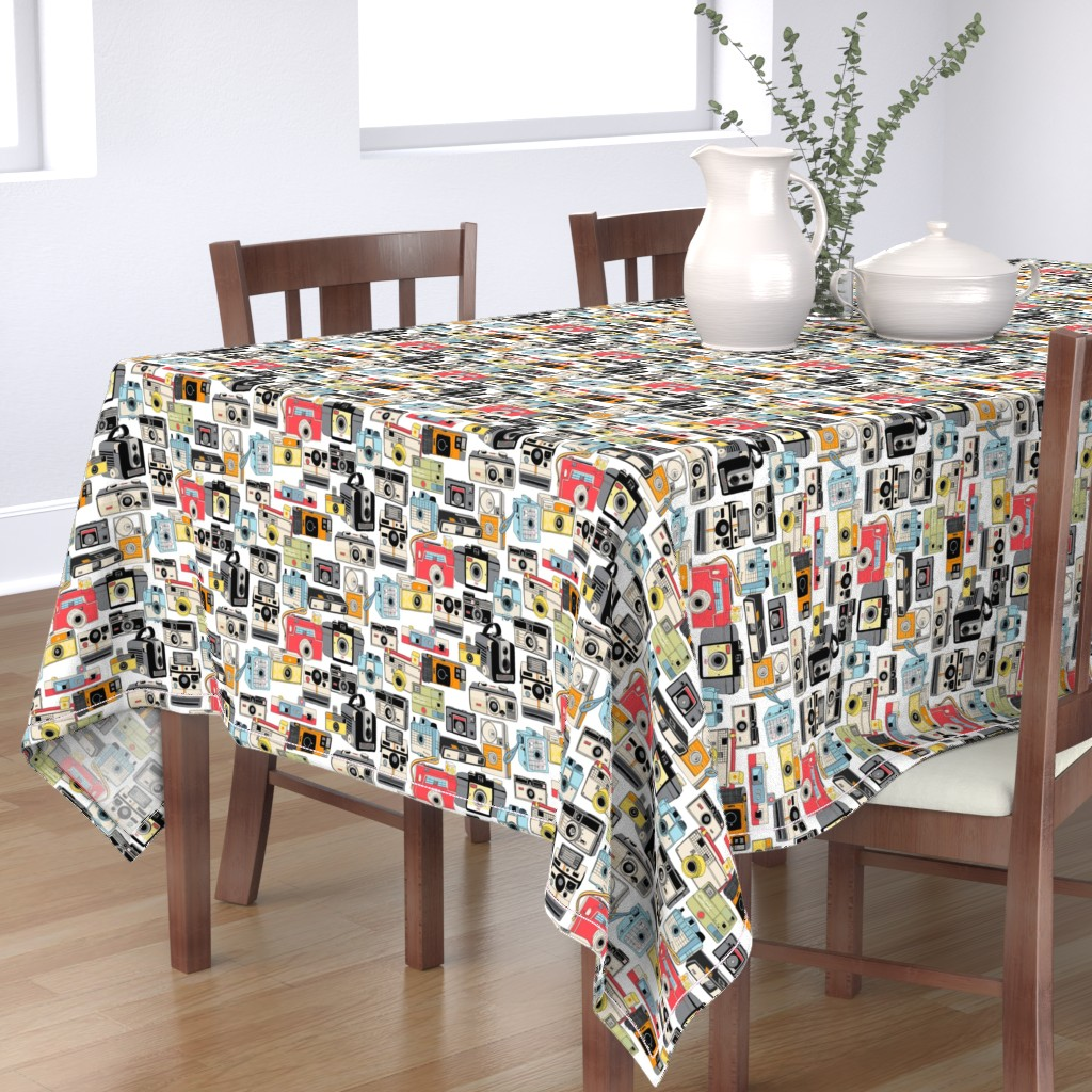 Bantam Rectangular Tablecloth featuring Make it Snappy!    vintage camera illustrations analog photography film photo photographer by pennycandy