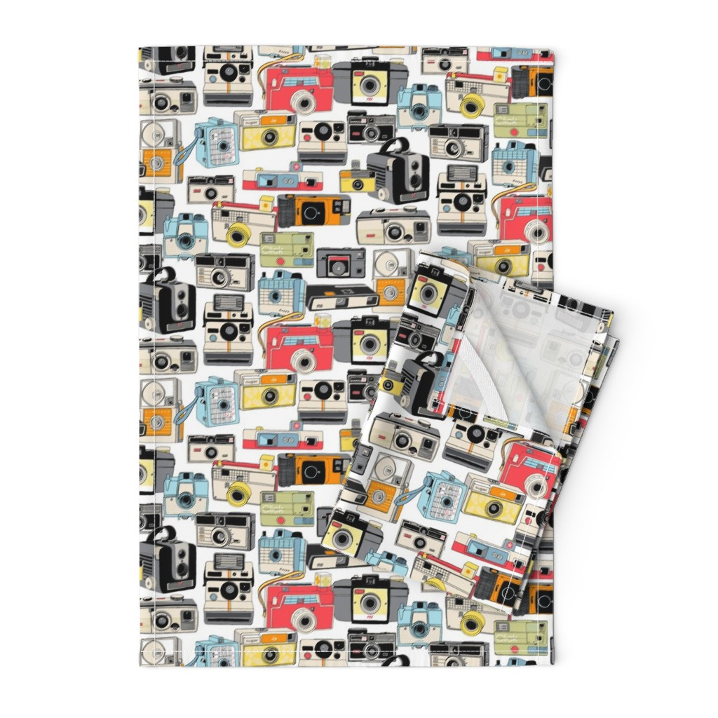 Orpington Tea Towels featuring Make it Snappy!    vintage camera illustrations analog photography film photo photographer by pennycandy