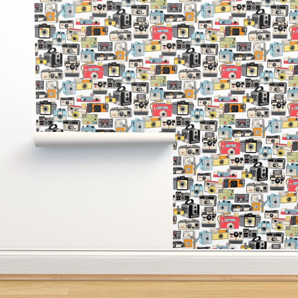 Isobar Durable Wallpaper featuring Make it Snappy!    vintage camera illustrations analog photography film photo photographer by pennycandy