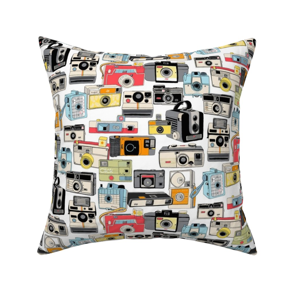 Catalan Throw Pillow featuring Make it Snappy! || vintage camera illustrations analog photography film photo photographer by pennycandy