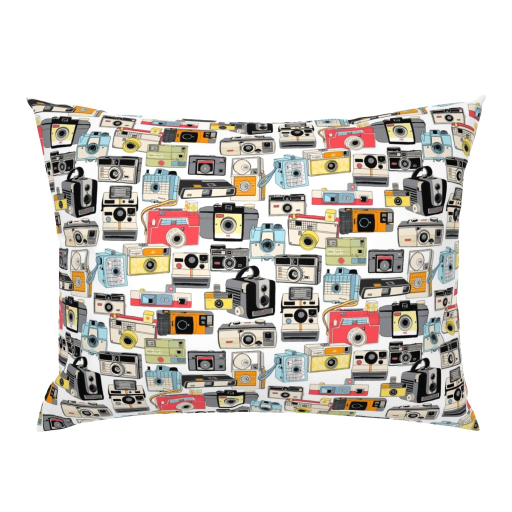 Campine Pillow Sham featuring Make it Snappy! || vintage camera illustrations analog photography film photo photographer by pennycandy