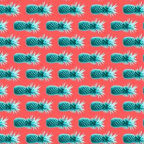 Pineapple - Teal and Coral - Oriented to 90 degrees