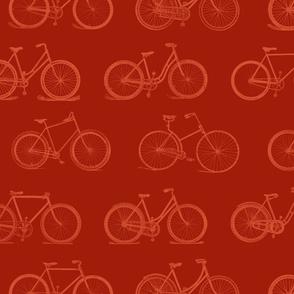 Retro Bicycles Red Pattern (large version)
