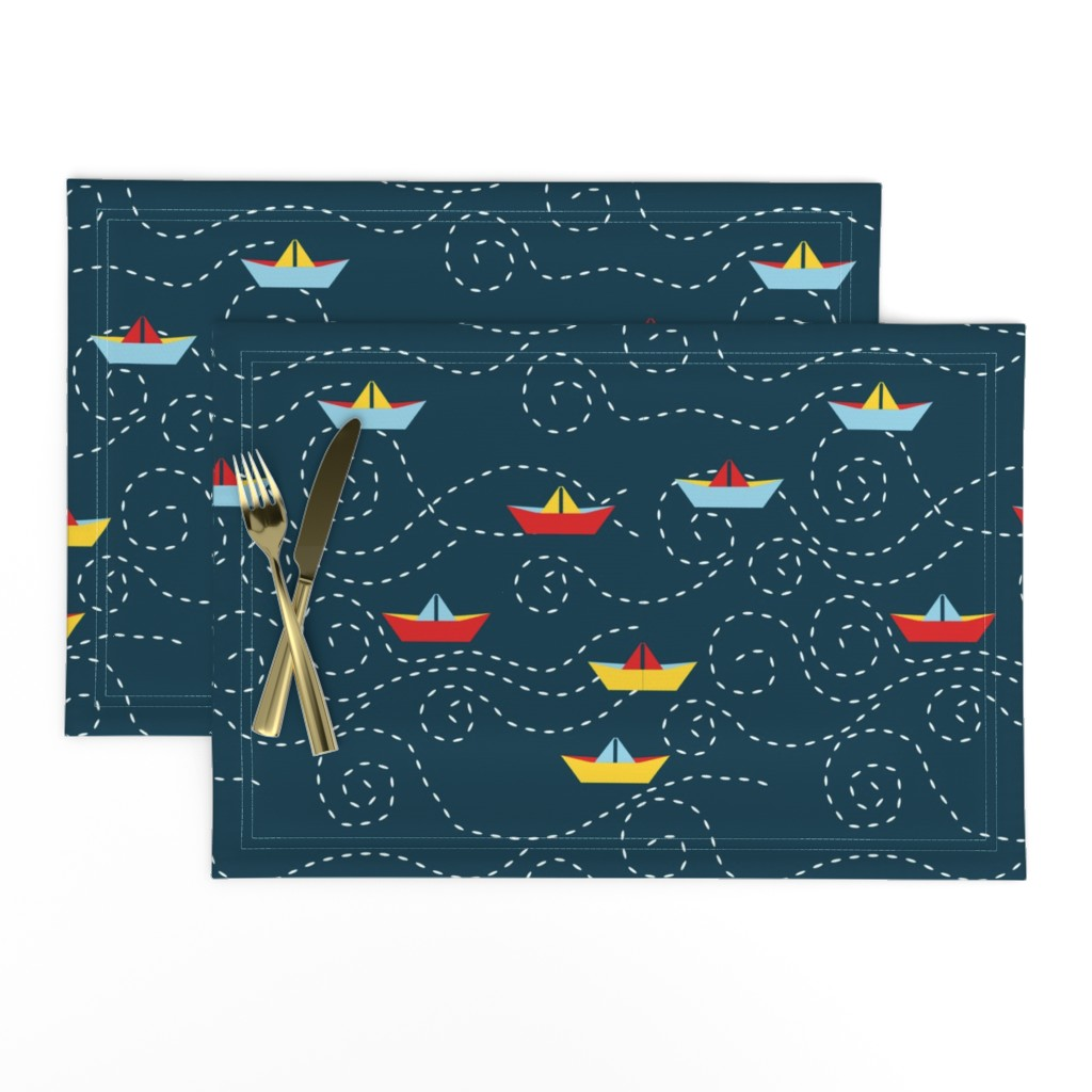 Lamona Cloth Placemats featuring paper_s_boat_L by nadja_petremand