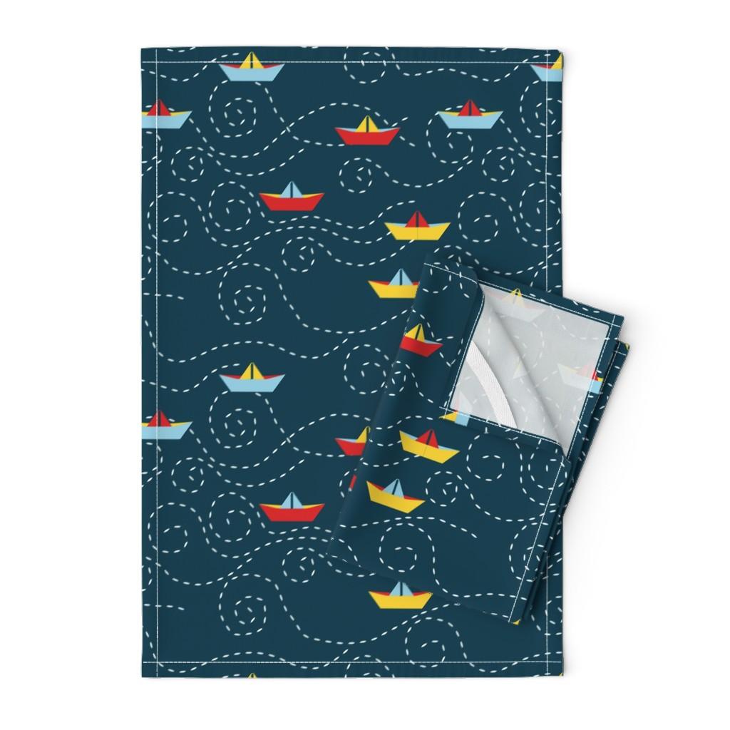 Orpington Tea Towels featuring paper_s_boat_L by nadja_petremand