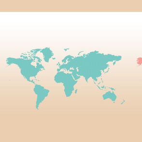 World Maps 3 ways - Teal, Coral, Brown